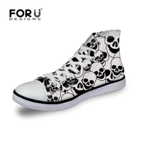 Designer High Top Canvas Shoes For Men Cool Men Skull Pattern Flat Shoes Brand Leisure Casual
