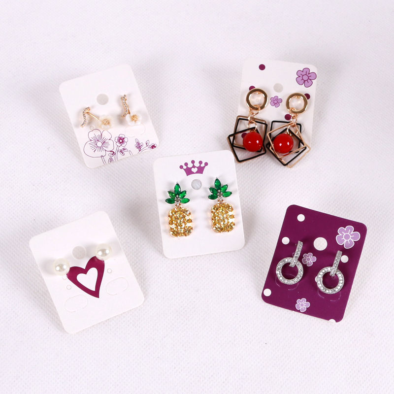 100Pcs 3.8*4.8cm White Paper Ear Studs Card Hang Tag Jewelry Display Earring Crads Favor Label Tag With Purple Flower Color Card