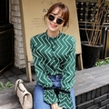 New Autumn Women Shirts Slim 16 With Small Black Blouse Shirt Green 890