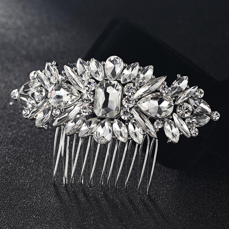 12pcs lot Wholesale Women Hair Combs Fashion Flower Hairpins Tiara Rhinestone Crystal Head Jewelry for Gifts