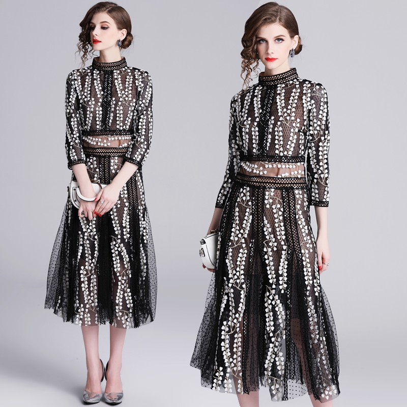 2019 New Runway Desgin Self Portrait Mid-calf Women's Dress Elegant Flower Floral Embroidery Black Vintage Dresses Vestidos Robe