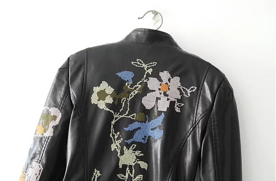 Autumn Leather Self Embroidery 2017 Wind New Motorcycle Coat Hot Jacket burgundy American Black European Women's white cultivation And xX8qHOn