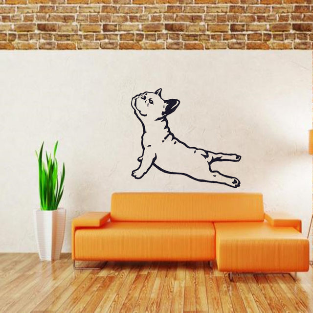 Free Shipping   French Bulldog Dog Wall Decals Vinyl Sticker   Bulldog  Stretch Wallpaper Wall Art   Animals Home Decor Design