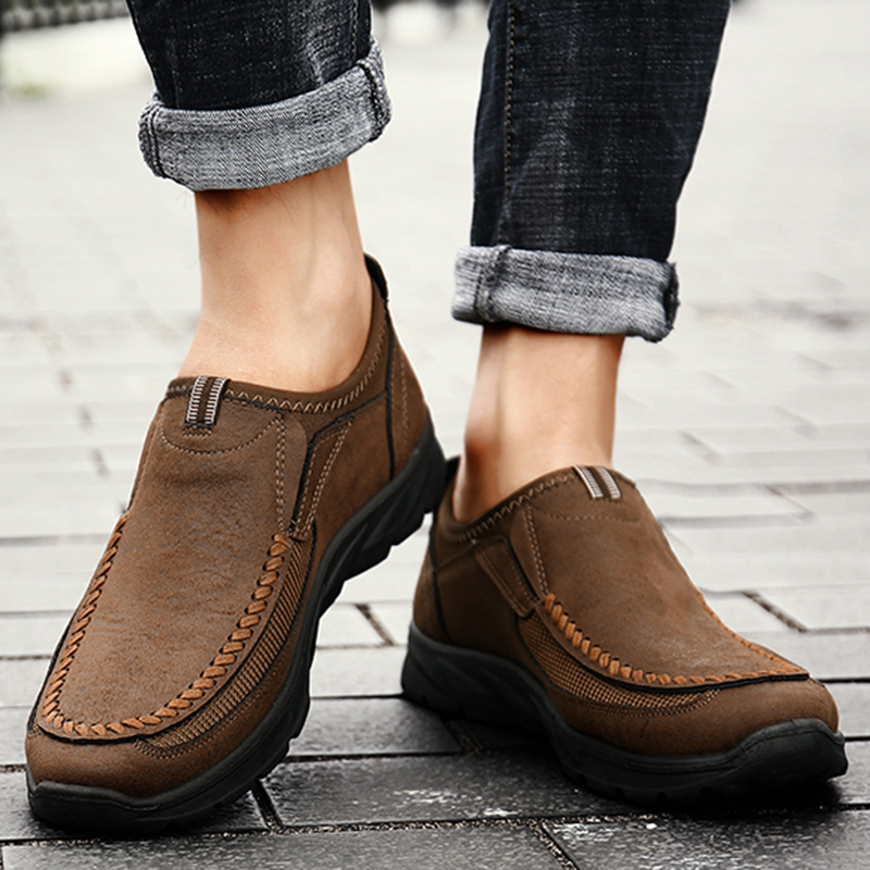 Men Casual Shoes Loafers Sneakers 2021 New Fashion Handmade Retro Leisure Loafers Shoes Zapatos Casuales Hombres Men Shoes 4