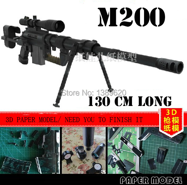 Free Shipping Paper Model Weapon M200 Sniper Rifle 1:1 Scale Gun 3D Puzzles Paper Toy Handmade Toys