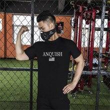 Gyms Men's Black T-Shirt 2019 Men's Fitness T-Shirt Summer Brand Men's Print Sportswear Jogger Short Sleeve Tops Fashion T-Shirt
