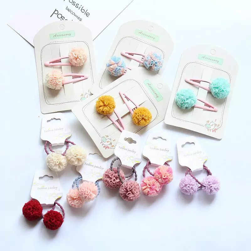 MIXIU 2pcs Lovely Baby Girls Hair Accessories Candy Color Pompom Hair Clips Cute BB Accessories Sweet Girls Kids Hairpins