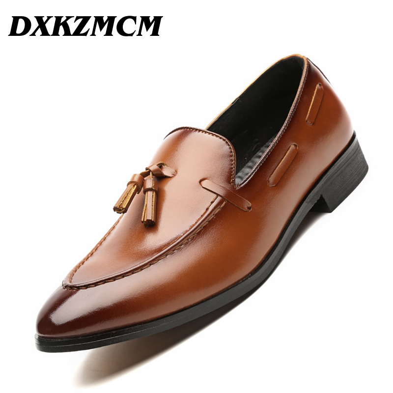 DXKZMCM Handmade Men Dress Shoes Leather Formal Business Men Oxfords Shoes Wedding Party Brogue Shoes new branded men s casual full grain leather oxfords shoes wedding dress shoes handmade business lace up brogue shoes for men