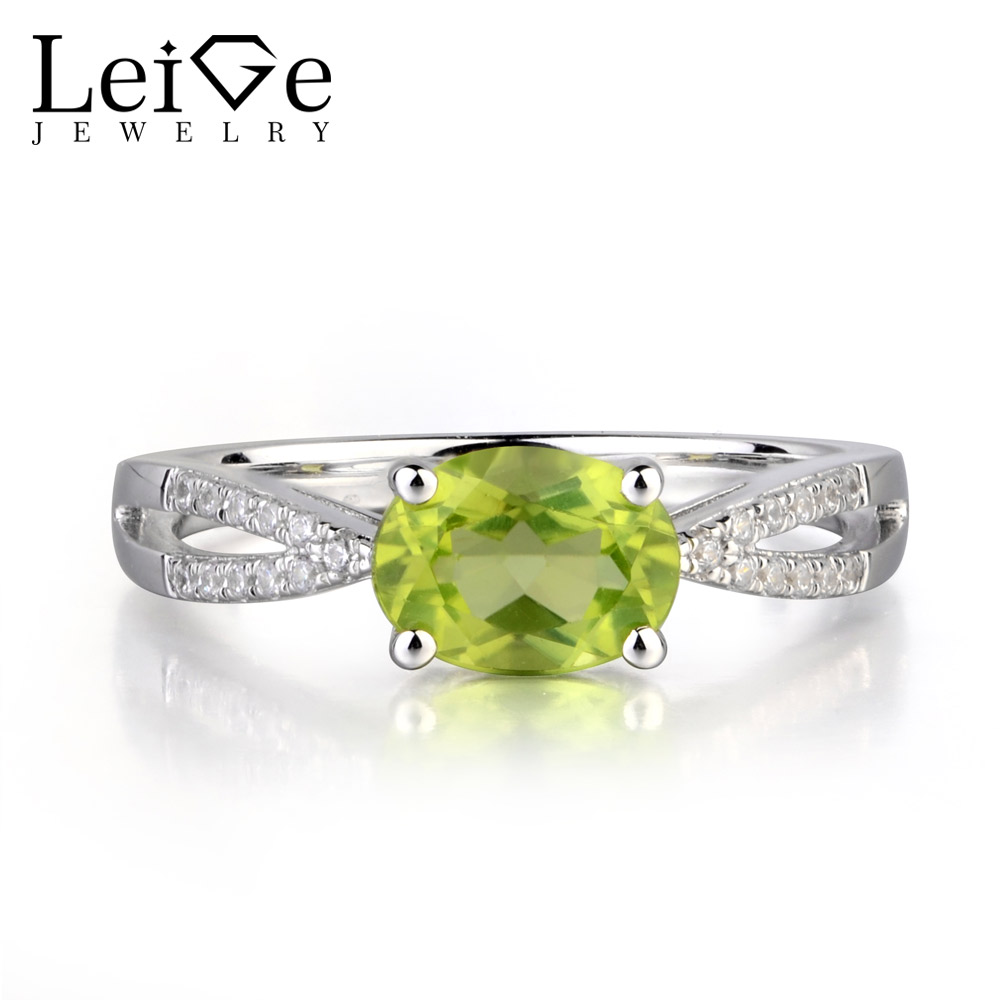 Лейдж украшения натуральный зеленый цвет камень хризолит зубец установки овальным вырезом Обручение Романтические кольца для женщина авг
