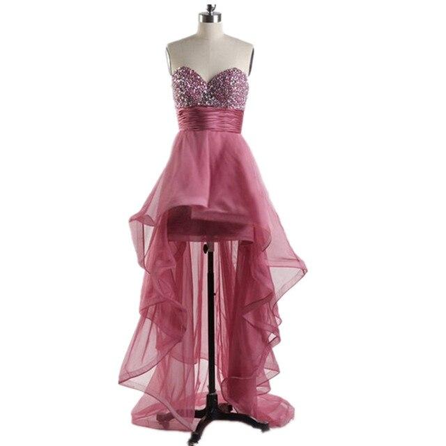 Dusty Pink Trasero largo Delantero Corto Vestido de Novia de Escote ...