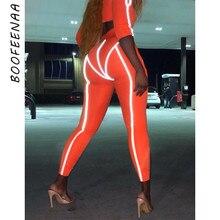 BOOFEENAA Spring/summer 2019 Reflective Patchwork Leggings Women Orange High Waist Workout Sweatpants Streetwear Pants C54-AA65