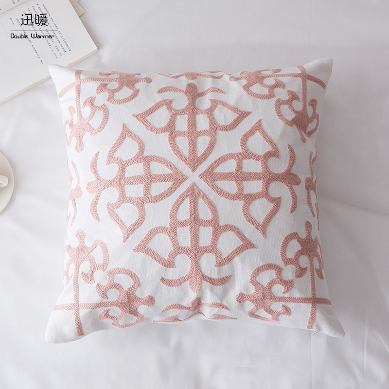 Home Decorative Throw Pillow Lattice Wave Pattern Embroidered Patio Cushion  Cases, 18x18, Pink,