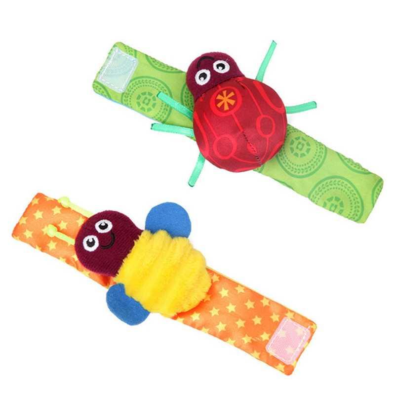 2 pcs Rattle ชุดเด็กทารก Sensory ของเล่นเท้า - finder ถุงเท้าข้อมือสร้อยข้อมือของขวัญเด็กเขย่าน่ารัก bell แหวนเสียงรบกวน