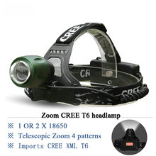 Zoomable Led Headlamp CREE T6 Headlight 3000 Lumens 4 mode waterproof use 18650 rechargeable battery head Flashlight torch
