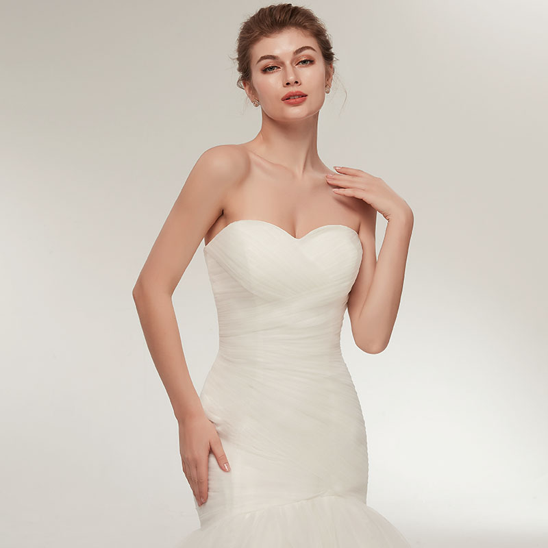 Elegant White Ivory Mermaid Wedding Dress
