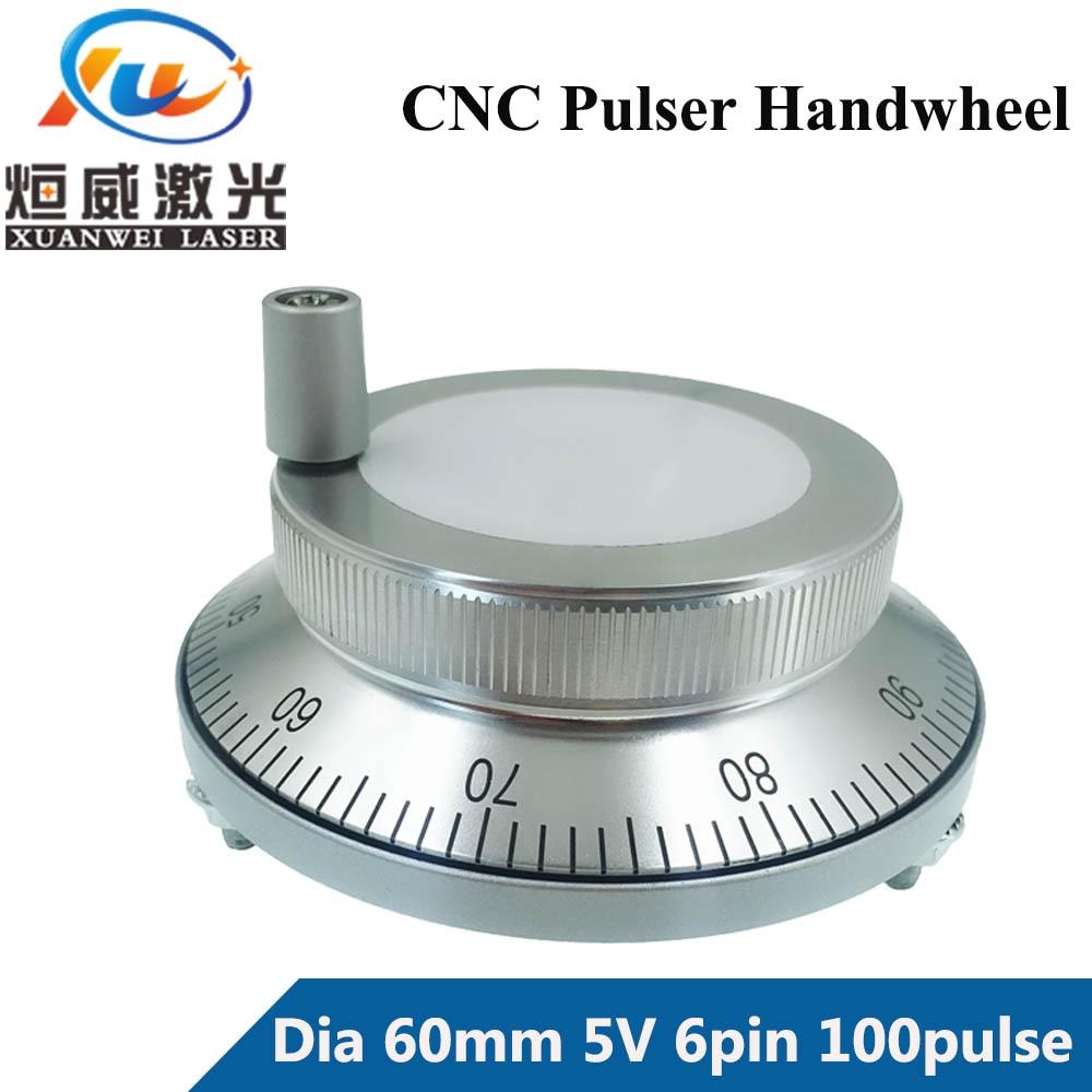 CNC Pulser Handwheel 5V 6pin Pulse 100 Manual Pulse Generator Hand Wheel CNC Machine 60mm Rotary Encoder Free Shipping