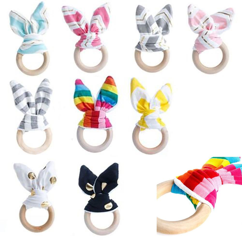 Popular Cute Wooden Natural Chewing Teether Bunny Sensory Toy Infant Baby Teething Ring