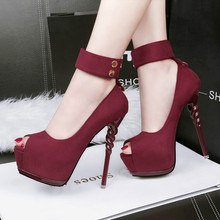 New Women Pumps Shoes Fashion Flock Peep Toe 14cm Thin High Heels Shallow 5cm Platform Solid Sexy Lady Club Party Female Shoes