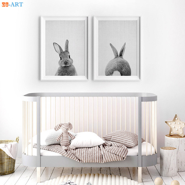 Modern Rabbit Tail Prints Animal Woodland Nursery Decor Bunny Butt ...