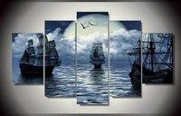 5 Sztuka unframed Wydrukowane fantazja księżyc żeglarstwo morze Malarstwo na płótnie dekoracji pokoju plakat obraz na płótnie oprawione sztuki