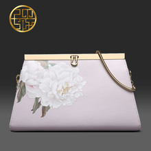 Pmsix 2016 summer fashion printed leather shoulder evening bag chain Envelope Clutch casual female P220035