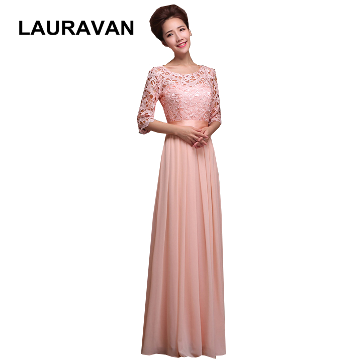 pink blue red chiffon women long   bridesmaid     dress   with half sleeve lace sleeves womens   bridesmaids   party   dresses   long blue 2019