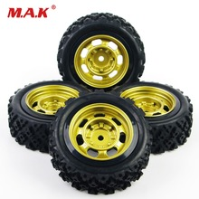 4Pcs/Set 1:10 Scale Rally Racing Rubber Tires and Wheel Rim with 6mm Offset 12mm Hex fit Off Road Car RC Accessories