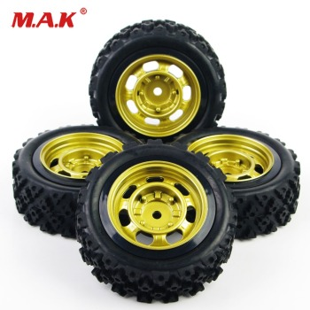 4Pcs/Set 1:10 Scale Rally Racing Rubber Tires and Wheel Rim with 6mm Offset and 12mm Hex fit Off Road Car RC Accessories image