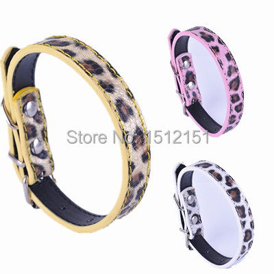 Fashion Leopard Leather Dog Collar Pink White Gold  Colors Collars For Small Dogs Pet Products