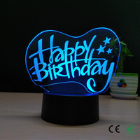 Birthday of 3 d lamp RGB colorful light The bedroom berth lamp of creative gift lamp lover friend