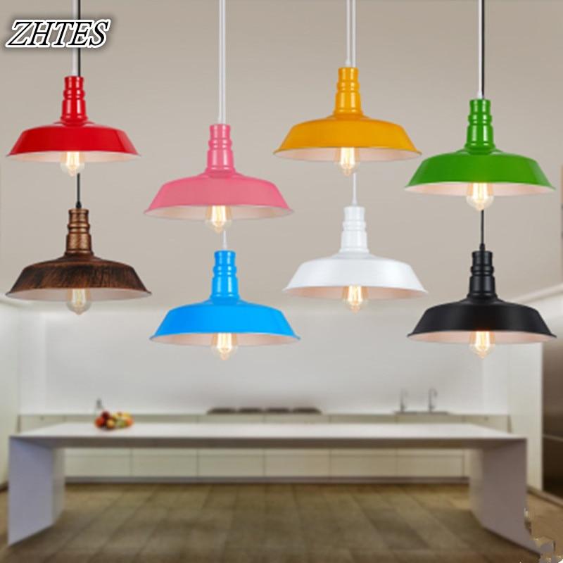 Colored Loft Vintage Aluminum Chandelier Cafe Bar Restaurant Single Head Aluminium Chandelier Lamp