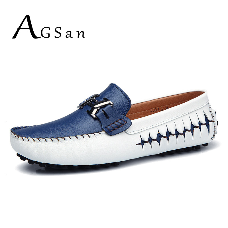 AGSan Men Loafers Genuine Leather Casual Shoes Slip On Mens Boat Shoes Italian Designer Driving Shoes Moccasins Blue Black Flats
