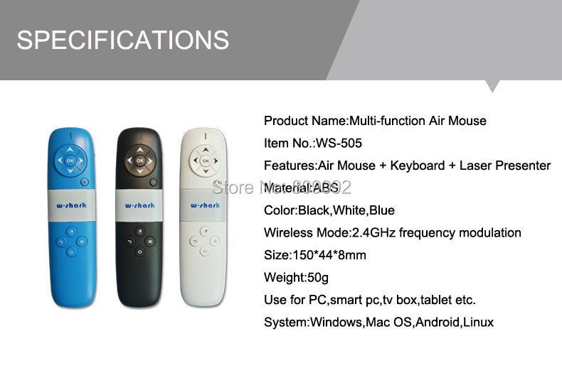 Newest 2.4GHz Wireless Remote Control Flying Air Mouse Keyboard and Laser Pointer for PC Laptop TV Box air swimmers helium remote control flying shark