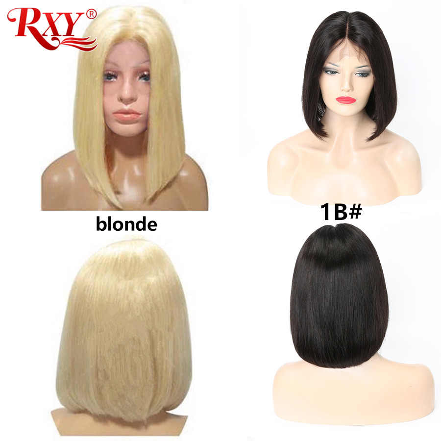 RXY короткий красочный парик Боб короткие человеческие волосы парики розовый/синий/серый/фиолетовый/желтый/красный прямые парики шнурка спереди для черных женщин remy