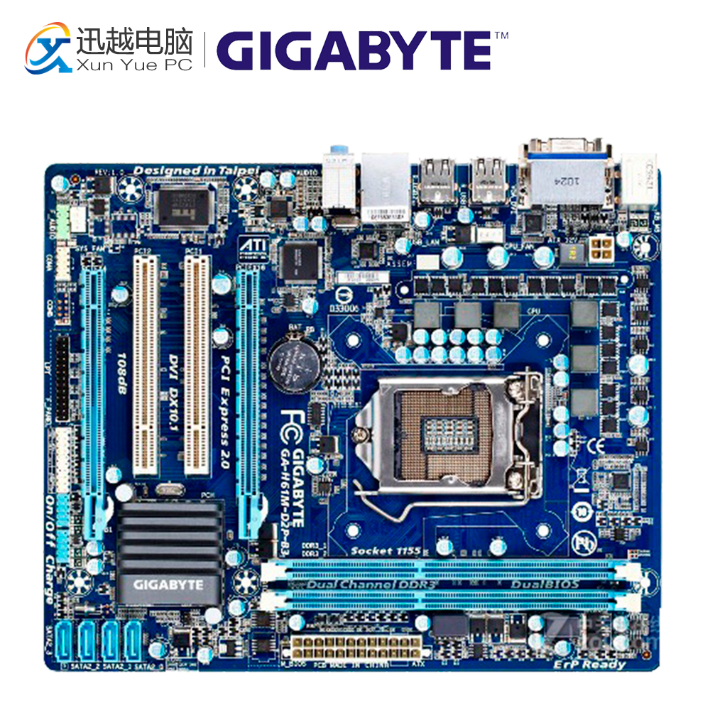 Gigabyte GA-H61M-D2P-B3 Desktop Motherboard H61M-D2P-B3 H61 LGA 1155 i3 i5 i7 DDR3 16G Micro-ATX original used gigabyte ga h61m ds2 desktop motherboard h61 for intel lga 1155 i3 i5 i7 ddr3 16g uatx uefi h61m ds2 mainboard