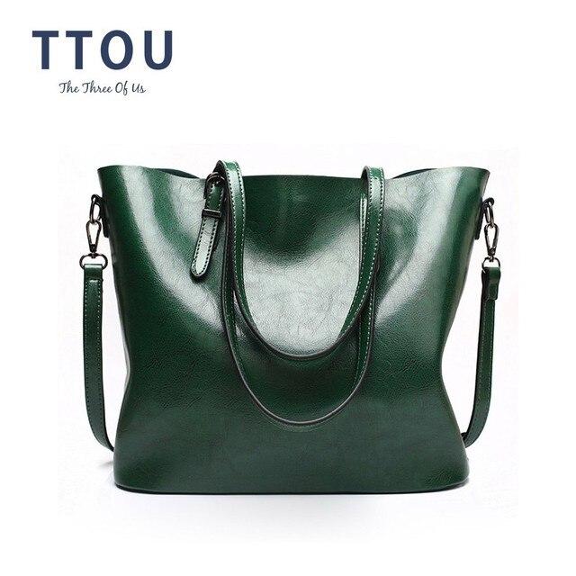 TTOU נשים אופנה כתף שקיות נשי מוצק תיקי קיבולת גדולה Tote תיק מקרית עור מפוצל קניות תיק