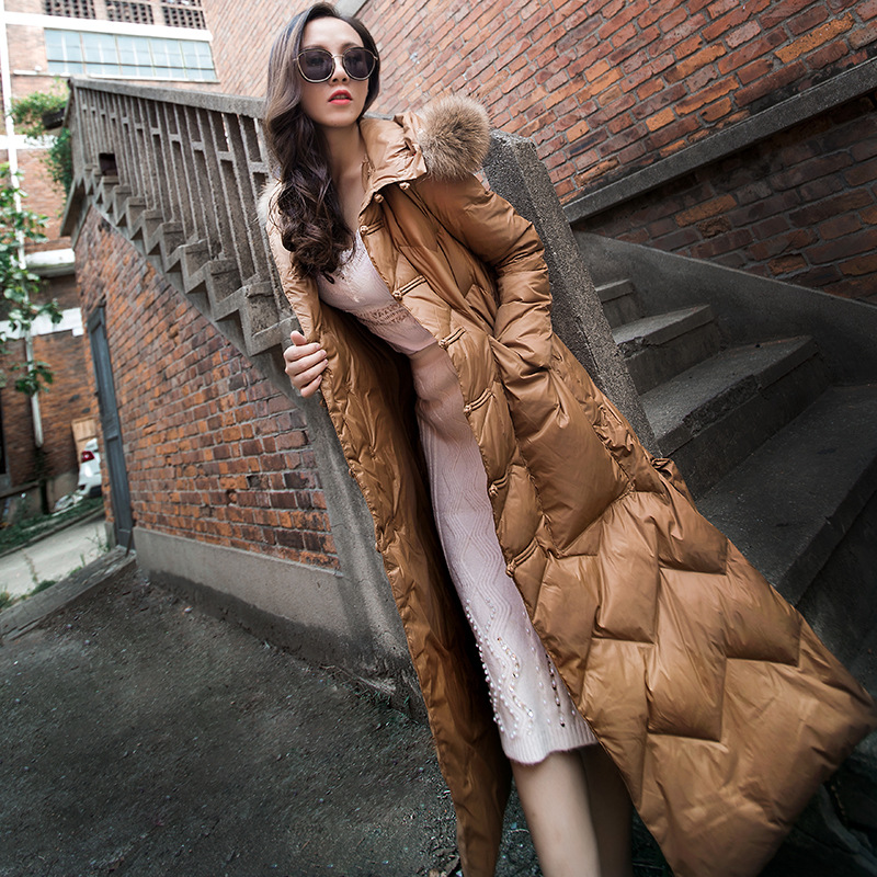 YOSIMI 2018 Winter Women Warm   Down     Coat   Khaki Female X-Long White Duck   Down   Fashion Red Cotton   Coat   with Fur Collar and Hooded
