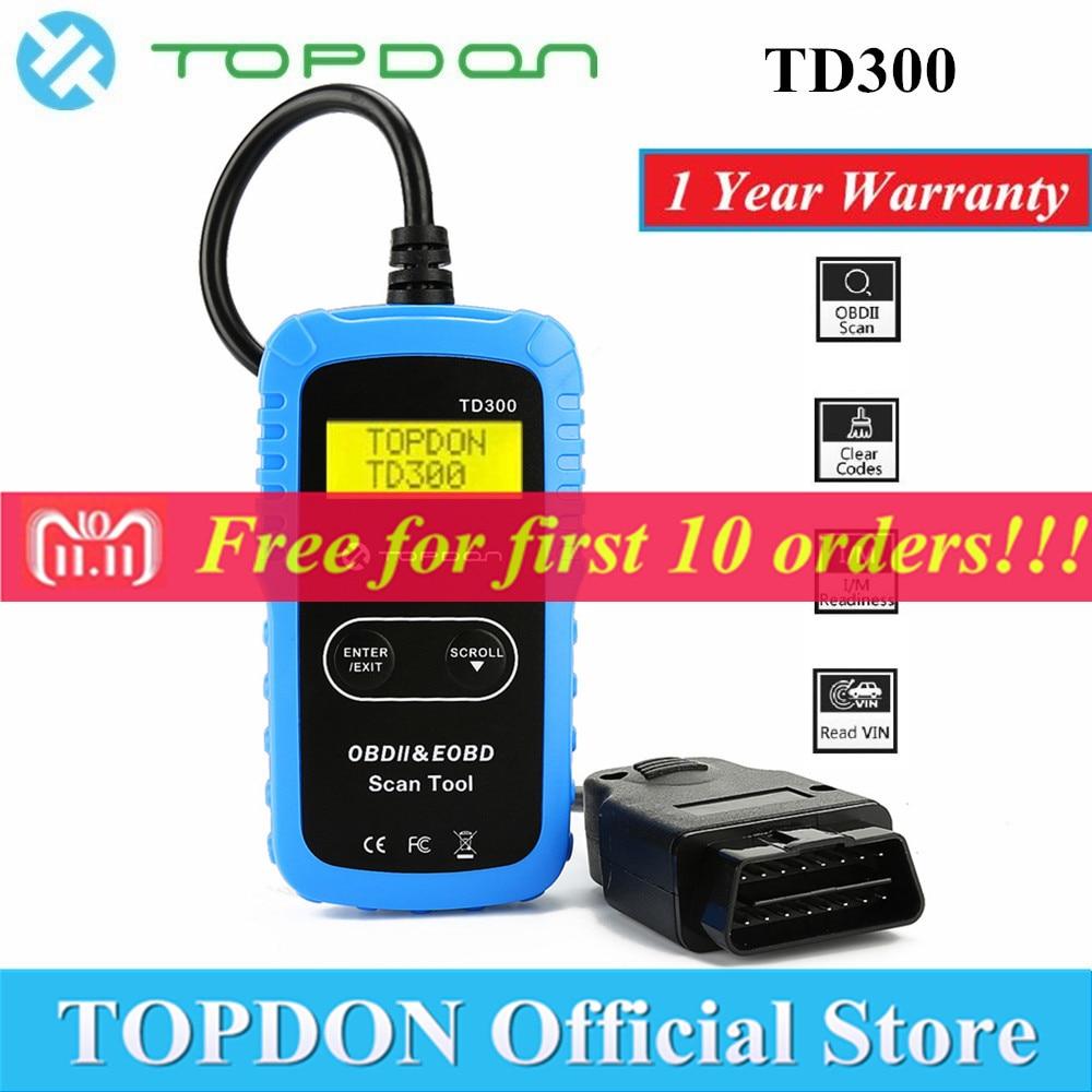 TOPDON TD300 OBD2 סורק אוטומטי רכב אבחון כלי קוד Reader סריקת רכב Autoscanner OBDII OBD 2 Scaner Autel AL301 MS300