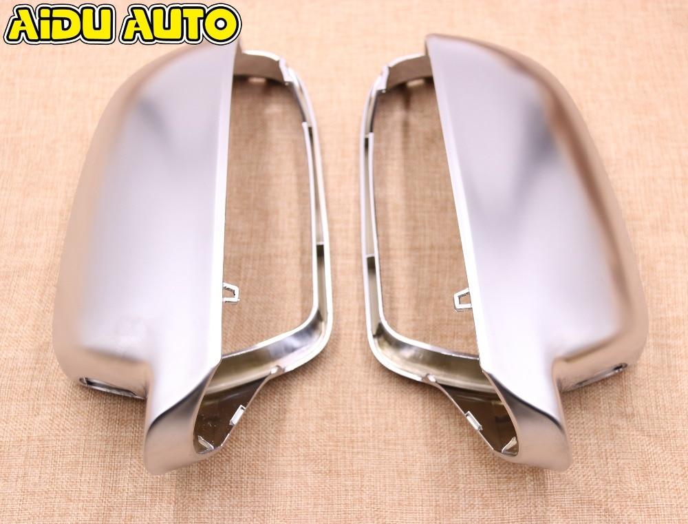 1 par para audi a4 s4 b8 a5 s5 b8 assistência lateral suporte mate chrome prata caso espelho retrovisor capa escudo