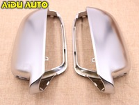 1 pair For Audi A4 S4 B8 A5 S5 B8 Side Assist Support matt chrome Silver mirror case rearview mirror cover shell