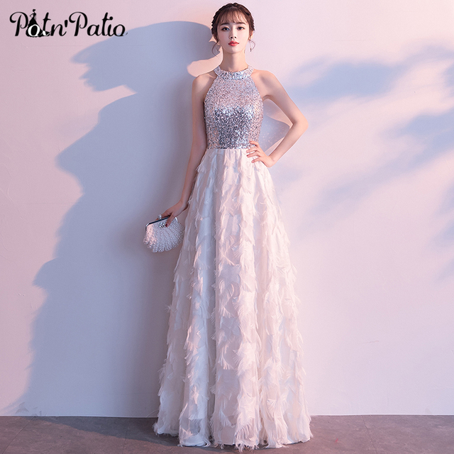 cc46103a612 Elegant White Feather Sequined Prom Dress Sexy Halter Sleeveless Floor- Length Long Formal Gown Special Occasion Dresses 2018
