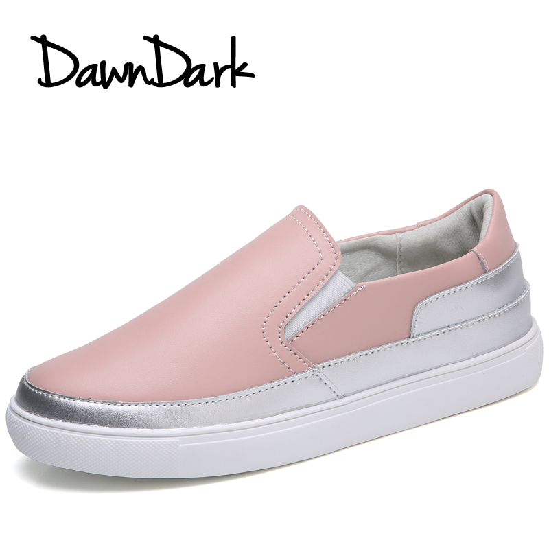 Women Leather Casual Shoes Slip on Female Round Toe Fashion Sneakers Spring Summer Ladies Girls Flat Walking Loafers