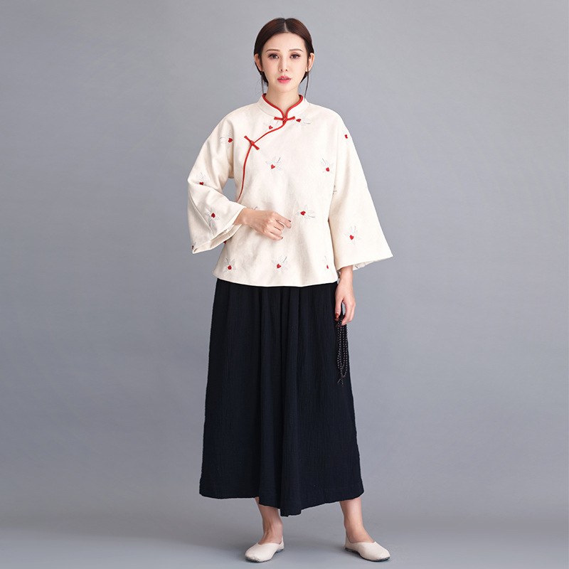 Original Chinese style women's retro button style oblique hair coat RETRO art Tang Costume Jacket