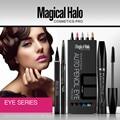 Magical Halo 4Pcs/lot Professional Brand Eye Makeup Set Eyebrow Pencil Thick Curling Mascara Eyeliner Eyeshadow Pen Make up Kit