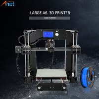 Newest ! Anet A6 A8 E10 3D Printer Large Printing Size Easy Assemble Precision Reprap i3 3D Printer Kit DIY with Free Filaments
