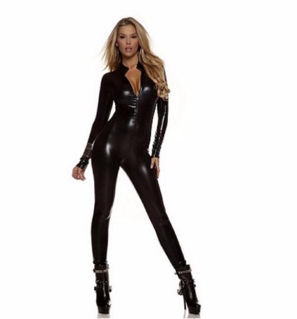 New Long Sleeve Zentai Bodysuit Jumpsuit Sexy Black Shiny Latex Full Body Zentai Suit Lycra Spandex Zentai Catsuit