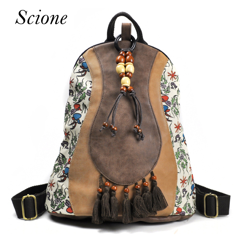 Brand National Design Floral Embroidered Backpacks Women's Travel Rucksack Mochila School Tassel Handmade Leather Shoulder Bag plus size floral embroidered drop shoulder sweater