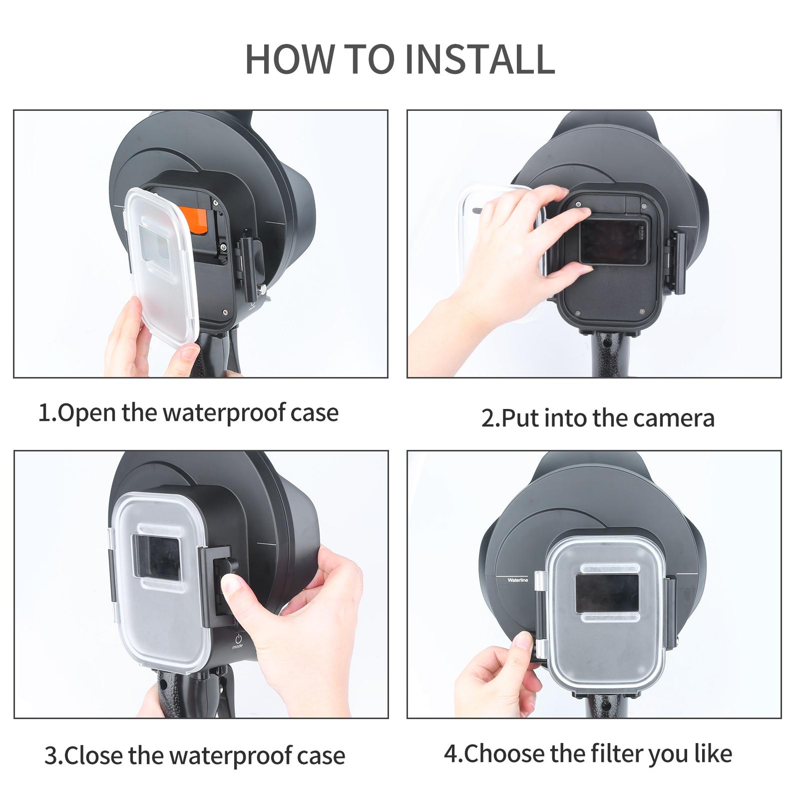 SHOOT buceo Domo Puerto impermeable filtro de la cubierta conmutable Domo para GoPro Hero 7 6 5 negro accesorio subacuático para Go pro 7 6 5 - 4