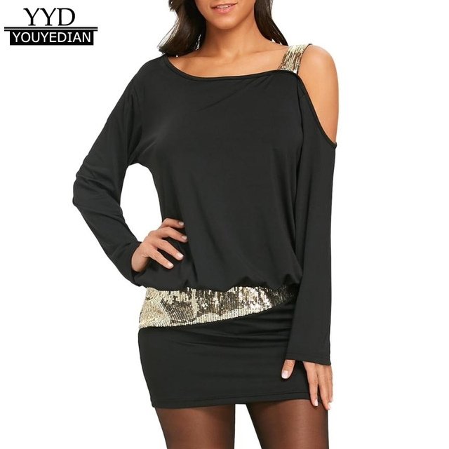 New Arrival 2018 Fashion Dress Womens Sexy Cold Shoulder Sequins Bling Mini  Tunic T Shirt Dress Long Sleeve Women Clothing  308 3a5c7959a426