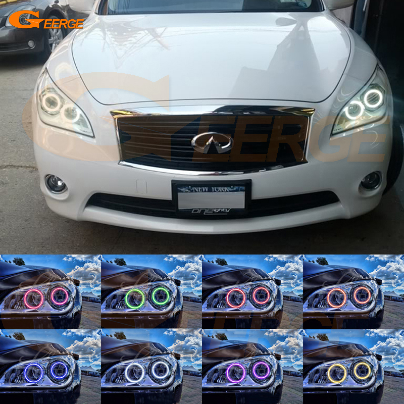 For Infiniti M37 M56 Q70 2011 2012 2013 2014 Excellent Multi-Color Ultra bright RGB LED Angel Eyes Halo Rings for honda cr v crv 2010 2011 projector headlights excellent multi color ultra bright rgb led angel eyes kit halo rings